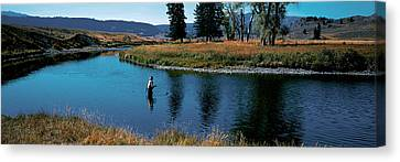 Trout Fisherman Slough Creek Canvas Print by Panoramic Images