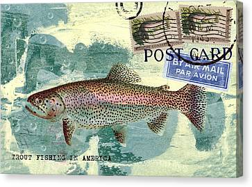 Trout Fishing In America Postcard Canvas Print