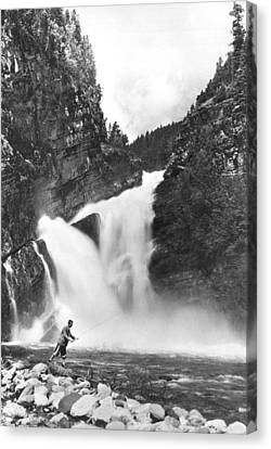 Trout Fishing In Canada Canvas Print by Underwood Archives
