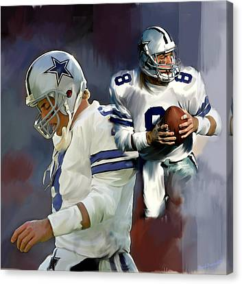 Troy Aikman  Aikam Canvas Print by Iconic Images Art Gallery David Pucciarelli
