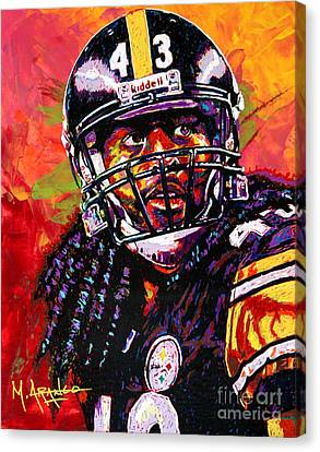 Troy Polamalu Canvas Print by Maria Arango