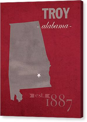 Troy University Trojans Alabama College Town State Map Poster Series No 113 Canvas Print by Design Turnpike