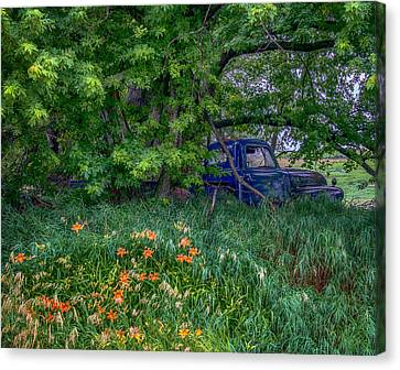 Truck In The Forest Canvas Print