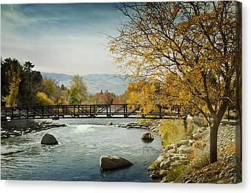 Canvas Print featuring the photograph Truckee River Downtown Reno Nevada by Janis Knight