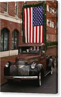 Truckin Old Glory Canvas Print