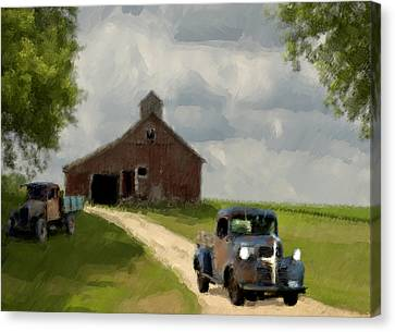 Trucks And Barn Canvas Print by Jack Zulli
