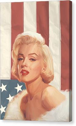 True Blue Marilyn In Flag Canvas Print by Chris Consani