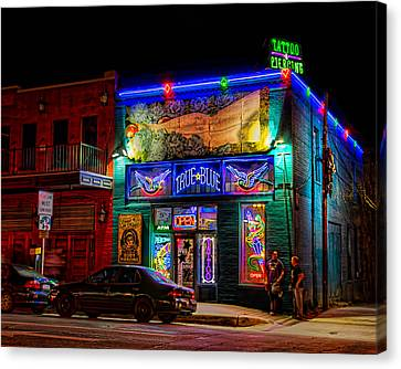 Canvas Print featuring the photograph True Blue Tattoos by Tim Stanley