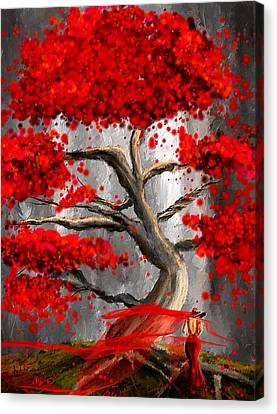Shades Of Red Canvas Print - True Love Waits - Red And Gray Art by Lourry Legarde