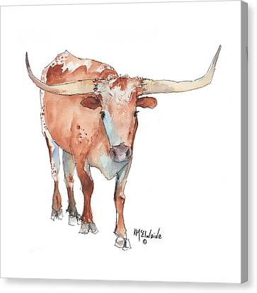 Square Walking Tall Texas Longhorn Watercolor Painting By Kmcelwaine Canvas Print by Kathleen McElwaine