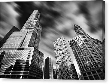 Trump Tower In Black And White Canvas Print by Sebastian Musial