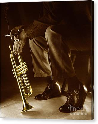 Brown Tones Canvas Print - Trumpet 2 by Tony Cordoza