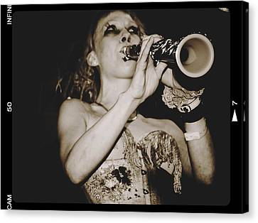Canvas Print featuring the photograph Trumpet Lady by Alice Gipson