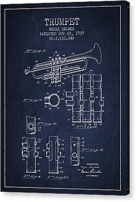 Trumpet Patent From 1939 - Blue Canvas Print by Aged Pixel