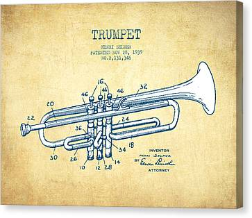Trumpet Patent From 1939 - Vintage Paper Canvas Print by Aged Pixel