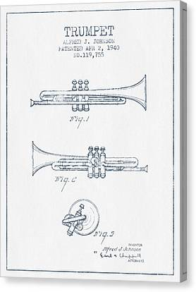 Trumpet Patent From 1940 - Blue Ink Canvas Print by Aged Pixel