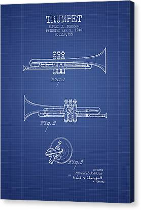 Trumpet Patent From 1940 - Blueprint Canvas Print by Aged Pixel
