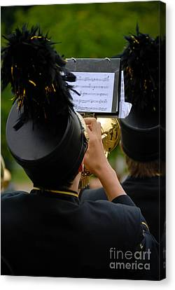 Trumpet Player In Marching Band Canvas Print by Amy Cicconi