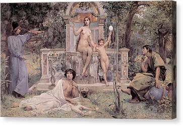 Garden Scene Canvas Print - Truth by Luc Olivier Merson