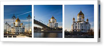 Tryptich - Cathedral Of Christ The Savior Of Moscow City - Features 3 Canvas Print by Alexander Senin