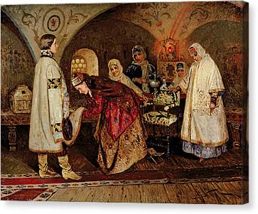 Nuptials Canvas Print - Tsar Alexei Mikhailovich Meeting His Bride, Maria Miloslavasky by Mikhail Vasilievich Nesterov