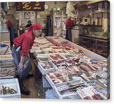 Canvas Print featuring the photograph Tsukiji Fish Market Tokyo by Colleen Williams