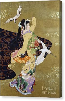 Oriental Canvas Print - Tsuru No Mai by Haruyo Morita