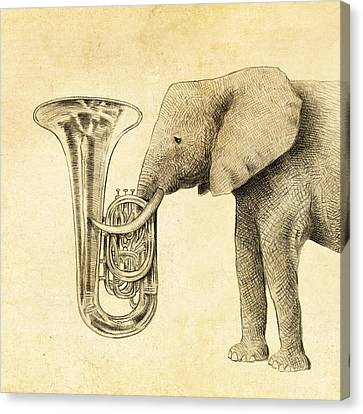 Elephants Canvas Print - Tuba by Eric Fan