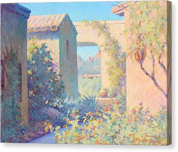 Silver Turquoise Canvas Print - Tubac Village Center by Ernest Principato