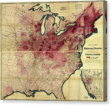 Tuberculosis In The Usa Canvas Print by Library Of Congress, Geography And Map Division