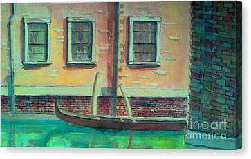 Tucked Into The Canal Canvas Print by Rita Brown