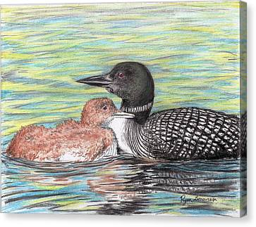 Loon Canvas Print - Tuckin In by Ryan Lamoureux