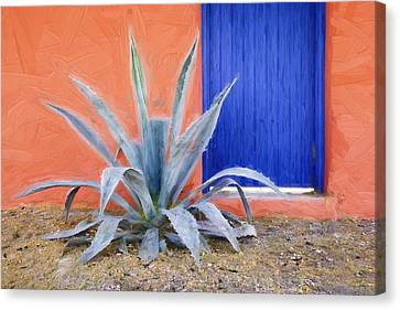 Tucson Barrio Blue Door Painterly Effect Canvas Print by Carol Leigh