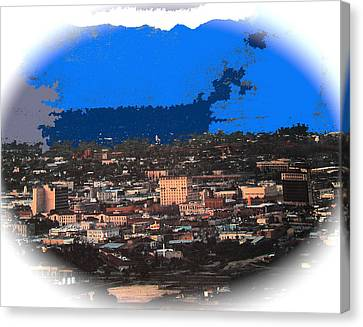 Tucson From A Mountain Ray Manley 1957-2013 Canvas Print by David Lee Guss