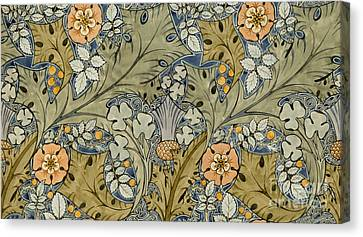 Designer Colour Canvas Print - Tudor Roses Thistles And Shamrock by Voysey