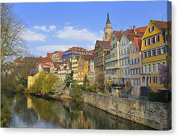 Tuebingen Neckarfront With Beautiful Old Houses Canvas Print by Matthias Hauser