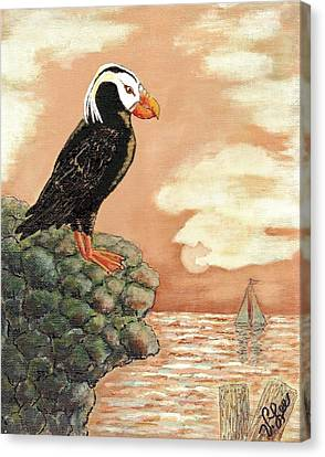 Canvas Print featuring the painting Tufted Puffin At Dusk by VLee Watson