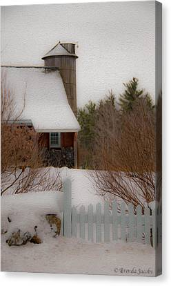 Canvas Print featuring the photograph Tuftonboro Farm In Snow by Brenda Jacobs