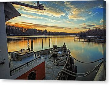 Tug At Sunrise Canvas Print by Everet Regal