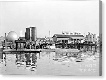 Canvas Print featuring the photograph Tug Boat On The Waterfront by Vibert Jeffers