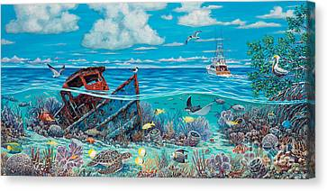 Tug Boat Reef Canvas Print by Danielle  Perry
