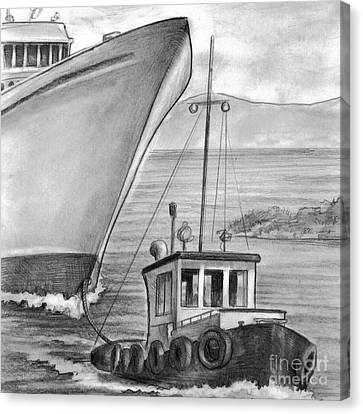 Tug Boat Towing Cruise Ship Canvas Print