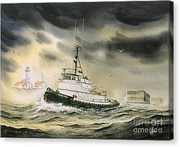 Tugboat Agnes Foss Canvas Print by James Williamson