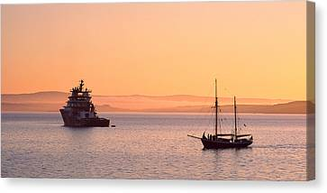 Tugboat And A Tall Ship In The Baie De Canvas Print