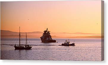 Tugboat With A Trawler And A Tall Ship Canvas Print by Panoramic Images