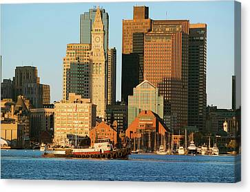 Custom House Tower Canvas Print - Tugboat With Boston Harbor by Panoramic Images
