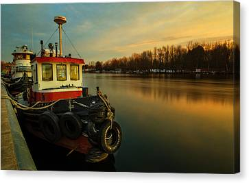 Tugs At Sunrise Canvas Print by Everet Regal