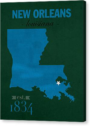 Tulane University Green Wave New Orleans Louisiana College Town State Map Poster Series No 114 Canvas Print