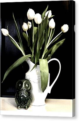 Tulip Bouquet And Owl Canvas Print by Marsha Heiken
