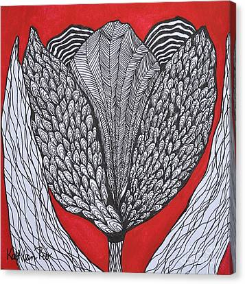 Tulip Doodle Canvas Print by Kathleen Pio